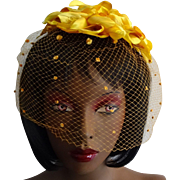 Yellow Fascinator Hat Vintage 1950s Millinery Flowers Polka Dot Veil Whimsy Cocktail Birdcage Bridesmaid