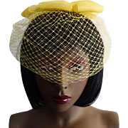 Yellow Fascinator Hat Vintage Bow Veil 1960s Nylon Bridesmaid Birdcage