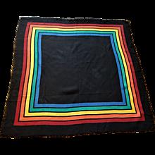 Vera Neumann Scarf Vintage 1960s Rainbow Stripe Cotton Black Fringe