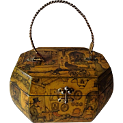 Anton Pieck Box Purse Decoupaged Vintage 1950s Wood Mirror Octagonal Dutch Market Toy Shop Photography Studio