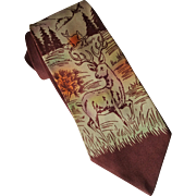 Vintage Novelty Necktie Tie 1940s Short Hand Painted Deer Mountains Woodland Scene Brent
