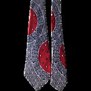 Vintage 1940s Rayon Tie Necktie Art Deco Lavender Navy Crimson Fleur De Lis Manhattan