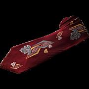 Vintage Novelty Necktie 1940s Crimson Art Deco Leaves Acetate Penneys Towncraft