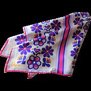Vera Neumann Scarf Floral Vintage 1960s Silk Rayon Square Hippie Daisy Flower Power
