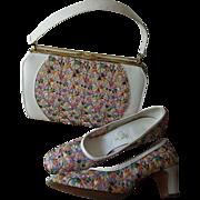 Mod Floral Purse Shoes Set Vintage 1960s White Leather Pastel Flowers Lace