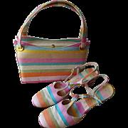 HOLD For Barbara: Mod Striped Purse Shoes Set Vintage 1960s Pastel Handbag Kelly Bag Sandals Block Heel