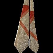 Art Deco Mens Necktie Tie Vintage 1940s Rayon Henrys of Wichita