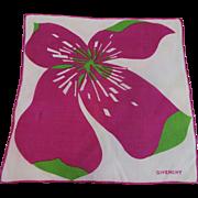 Givenchy Hanky Hankie Vintage 1960s Hand Rolled Linen Designer Pop Art Flower