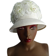 White Floral Hat Vintage 1960s Wedding Church Garden Party Womens Chapeax Accessory