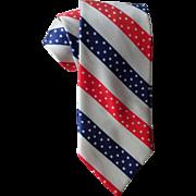 Patriotic Necktie Vintage 1970s Mr. Tie Red White Blue Stripes Stars Diagonal Stripe