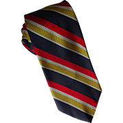 Silk Diagonal Stripe Necktie Vintage 1960s Hipster Preppy Mens Tie Nautical Patriotic Long Length