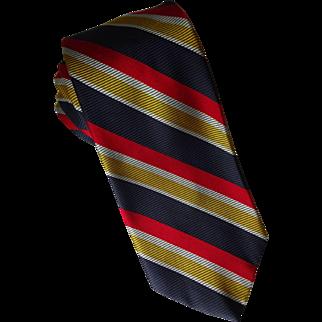 Silk Diagonal Stripe Necktie Vintage 1960s Hipster Preppy Mens Tie Nautical Patriotic Long Length