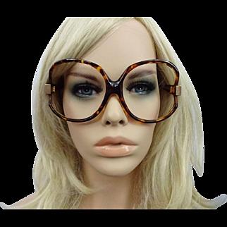 Huge Vintage Paola Belle Frames Eyeglasses Sunglasses 1970s Faux Tortoiseshell France Designer Eyewear