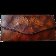 Large Meeker Leather Clutch Briefcase Vintage 1930s Arts and Crafts Art Nouveau Genuine Steerhide