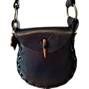 Bohemian Black Leather Saddle Bag Vintage 1970s Handbag Purse Crossbody Dante San Jose Boho