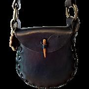Bohemian Black Leather Saddle Bag Vintage 1970s Handbag Purse Crossbody Dante San Jose Boho