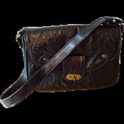 Vintage Black Hand Tooled Leather Purse Handbag Bag Avelar Mexico