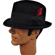 Black Royal Stetson Fedora Hat Vintage 1950s Rat Pack Sinatra Wool Feather