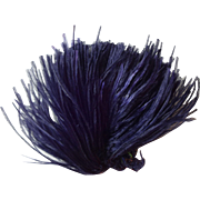 Indigo Violet Antique Victorian Ostrich Feather Plume Millinery Decoration