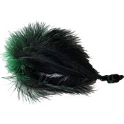 Green Black Ostrich Feather Plume Victorian Millinery Hat Decoration