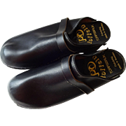 Mens Swedish Clogs Toffeln Vintage 1970s Black Leather Slip On