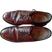 Mens Wingtip Shoes Vintage 1970s Sears Brown Leather