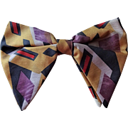 Mens Bow Tie Bowtie Vintage 1960s Rayon Geometric Graphic Print Clip On Accessory