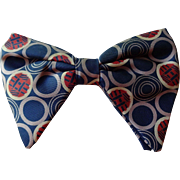 Vintage 1960s Mens Butterfly Bow Tie Bowtie Graphic Print Polka Dots