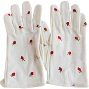 Hansen Vintage 1950s Wristlet Gloves White With Embroidered Strawberries