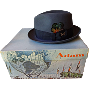 Rare New York Worlds Fair Adam Fedora Hat In Unisphere Souvenir Hat Box 1964 1965 Advertising Promotional