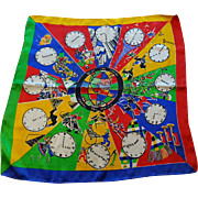 World Travel Clock Silk Scarf Vintage 1950s Colorful Accessory