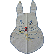 Vintage 1930s Bunny Rabbit Bib Embroidered Feedsack Baby Child