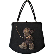 French Poodle Purse Vintage 1950s Beaded Black Wool Large Handbag Top Handle