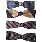 Mens Vintage 1950s Bow Ties Lot 4 Mixed Print Clip On