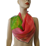 Vintage 1960s Vera Neumann Nylon Scarf Pink Green Rainbow