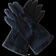 Gloves Vintage 1950s Navy Blue Nylon Mesh Wristlet Size 8