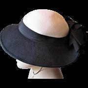 Womens Fedora Hat Bow Vintage 1960s Adolpho II Navy White Wool Felt