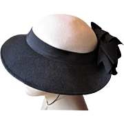 Womens Fedora Hat Bow Vintage 1960s Adolpho II Navy White Wool Felt