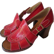 Red Italian Leather Clogs Platform Heels Vintage 1970s Womens Hippie Boho Sandals Shoes Block Heel Italy