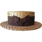 Antique Straw Boater Hat Vintage 1910s Brown Band Bow Kingsbury