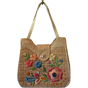 Whidby Purse Vintage 1960s Structured Straw Burlap Raffia Floral Flowers Philippines Handbag Shoulder Bag