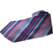 Mens Diagonal Striped Necktie Tie Vintage 1960s Woven Geometic Burgundy Blue Pink