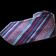 Mens Diagonal Striped Necktie Tie Vintage 1960s Woven Geometic Burgundy Blue Pink