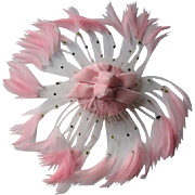 Pink Fascinator Hat Vintage 1950s Feather Beads Velvet Bows