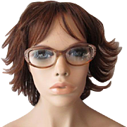 Vintage 1960s Lucite Eyeglasses Frames Pink Clear Rhinestones