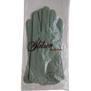 Vintage Green Gloves 1940s Sage Stetson New In Package Leather Tailored