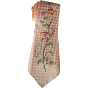 Mens Necktie Vintage 1940s Rayon Pink Hand Painted Birds