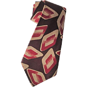 Mens 1940s 1950s Necktie Vintage Short Bold Geometric Post WWII Era