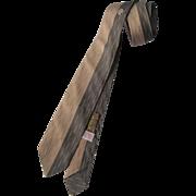 Mens Silk Skinny Necktie Vintage 1950s Superbra Brown Tan