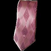Pink Versace Silk Necktie Tie Vintage 1980s Designer Art Deco Op Art Diamond Design Italy Italian